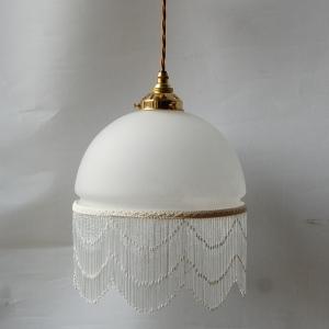 One bead fringe shade pendant lamp